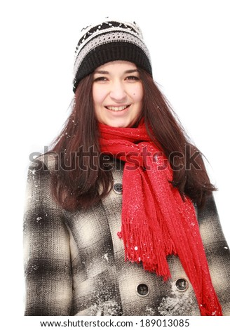 Young woman in warm clothes in winter