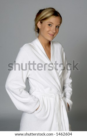 Young Woman in White Bathrobe