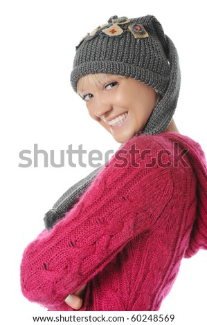 Young woman in winter style. Isolated on white background - stock photo