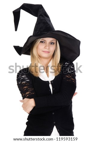 young woman in witch costume
