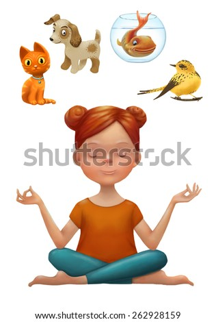 Young woman in yoga pose thinking about pet choice: cat, dog, fish or bird. Choice concept. Cartoon character illustration isolated in white. - stock photo