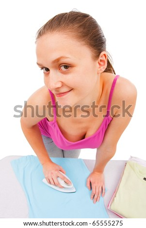 Young woman ironing isolated on white. - stock photo