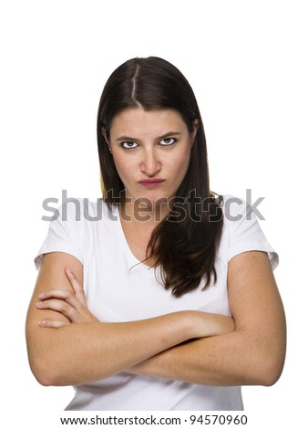 Young woman is angry - stock photo