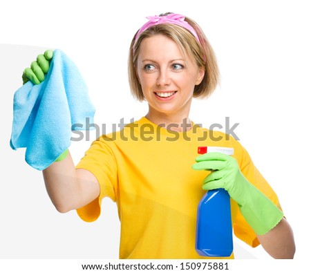 Young woman is cleaning glass using rag, isolated over white - stock photo