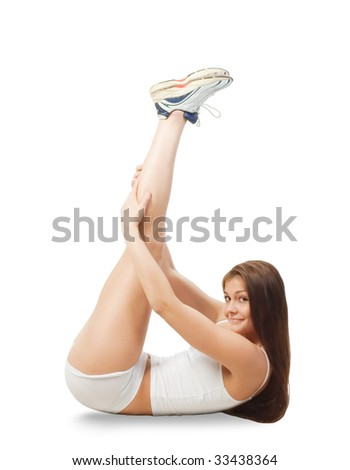 young woman is doing some exercises - stock photo