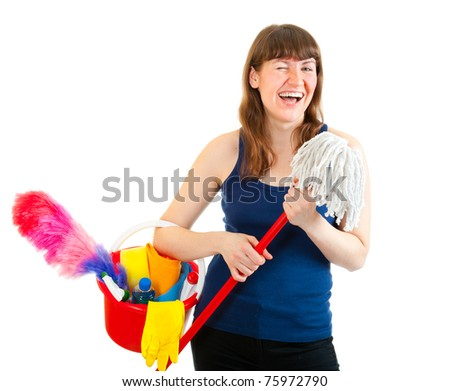 Young woman is ready for cleaning isolated over white