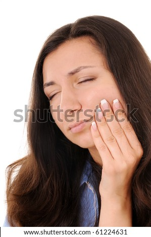 Young woman is suffering from toothache - stock photo