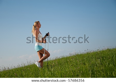 young woman is walking in her spare time