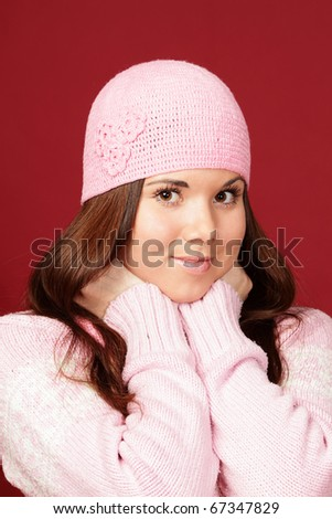 young woman isolated in hat
