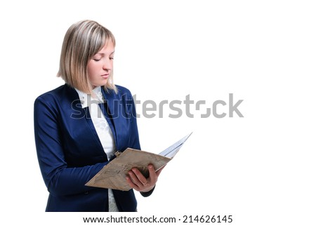 young woman isolated on white background in the form of teacher