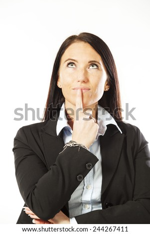 young woman isolated over white background - stock photo
