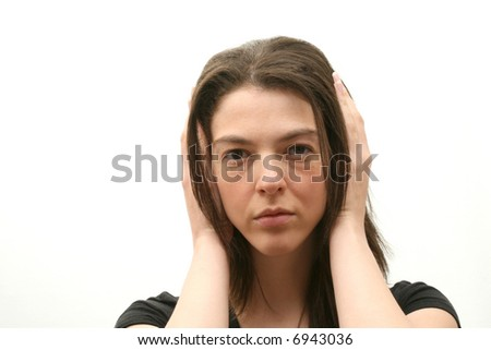 Young woman isolated over white background