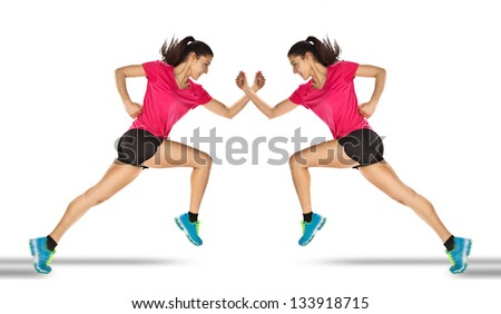Young woman jogging. Sport woman starting running. Mirror effect. - stock photo