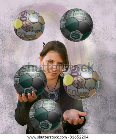 Young woman juggling balls, made of fragments of world currencies, the dollar and euro. Collage. - stock photo