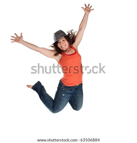 Young woman jumping high into the air - stock photo