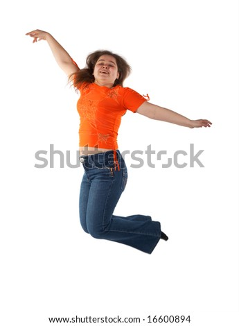 Young woman jumping isolated