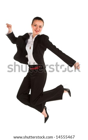 Young woman jumping on white isolated background