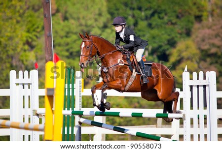 Young woman jumps horse over an obstacle during an event in an arena - stock photo
