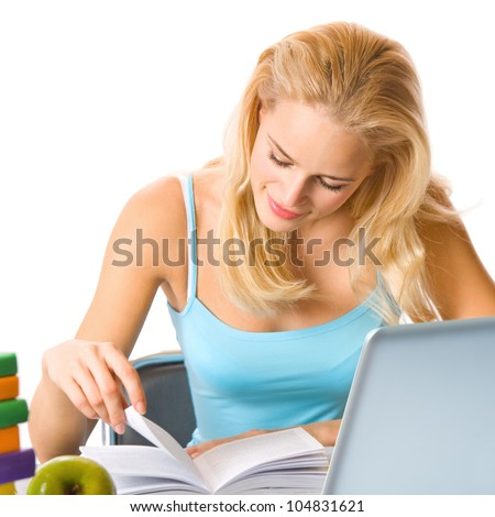 Young woman learning with textbooks and laptop, isolated over white background - stock photo