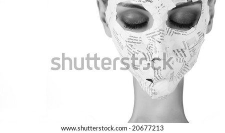 young woman like spooky in paper mask