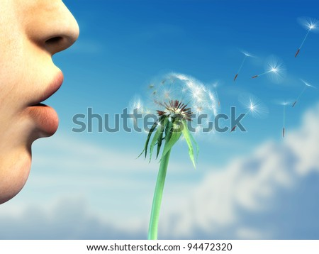 Young woman lips are blowing on a dandelion over a beautiful sky background. Digital illustration. - stock photo