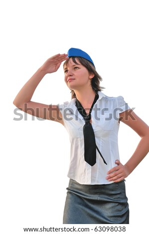 young woman  look into the distance isolated - stock photo