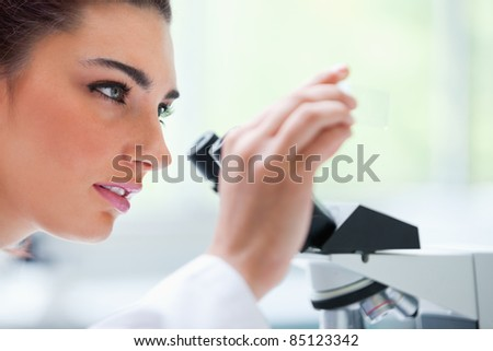 Young woman looking at a microscope slide in a laboratory - stock photo