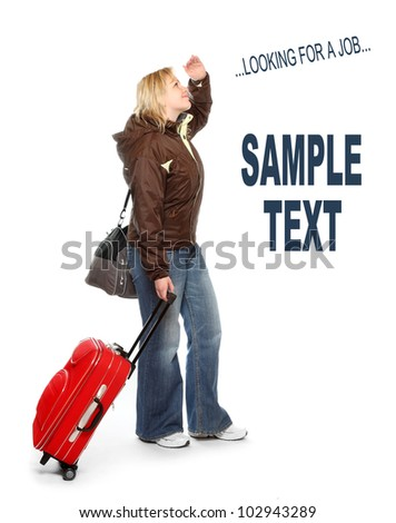Young woman looking for a job. Picture with space for your text. - stock photo