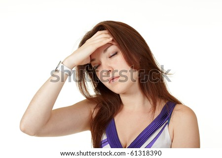 Young woman looking tired isolated on white background