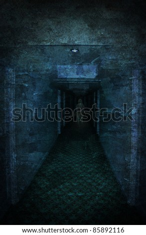Young woman lost in spooky dirty corridor - stock photo