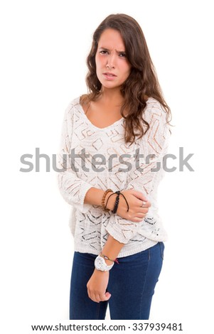 Young woman mad at you, isolated over white - stock photo