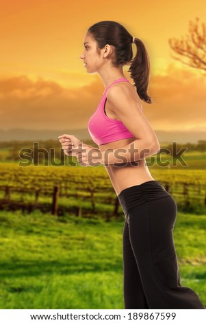 young woman makes sport - stock photo