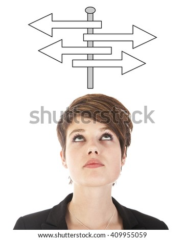 Young woman making a choice with arrows isolated on white background - stock photo