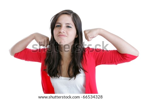 Young woman making a face and flexing her muscles - stock photo