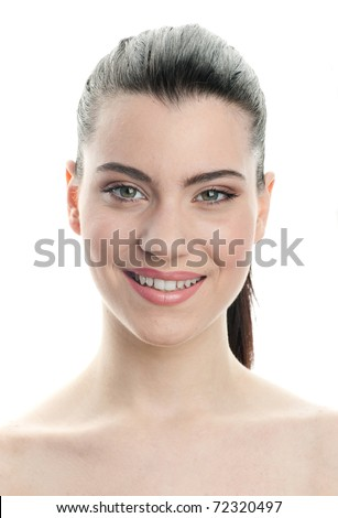 young woman making facial expression - stock photo