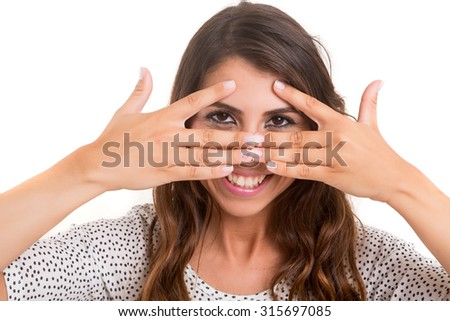 Young woman making framing key gesture - isolated over copy space background