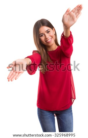Young woman making framing key gesture - isolated over white