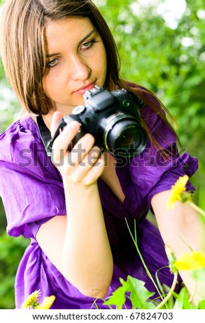 young woman making picture - stock photo