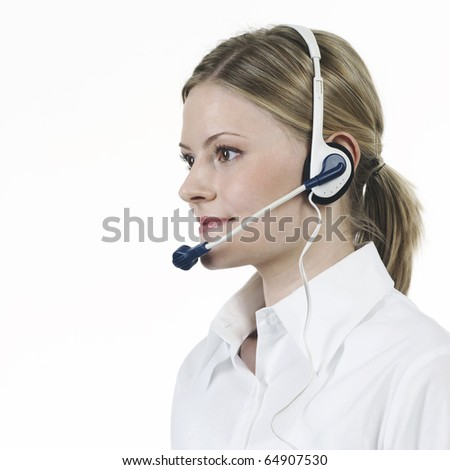 Young woman making telephonist white shirt