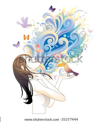 Young woman meditating - stock photo