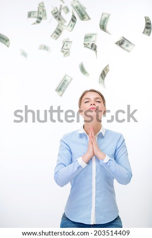Young woman meditating on the money