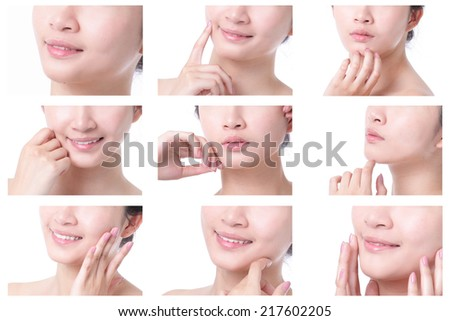 Young woman mouth close up with empty copy space isolated on white background, asian girl
