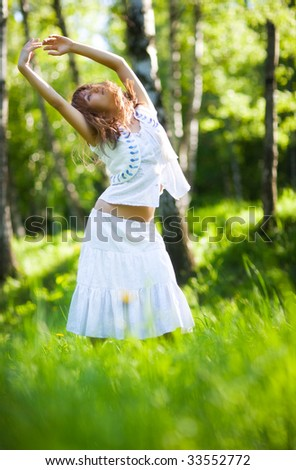 Young woman nature relax. Delighting good weather.
