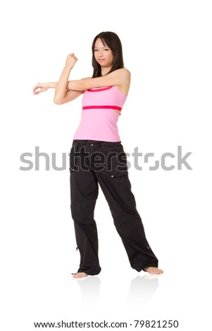 Young woman of Asian doing exercising,  full length portrait isolated on white background. - stock photo