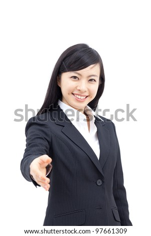 young woman offering handshake, isolated on white background