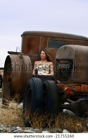 Young Woman, Old Truck