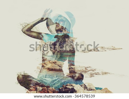 Young woman on beach and tropical nature concept portrait. Double exposure technique.