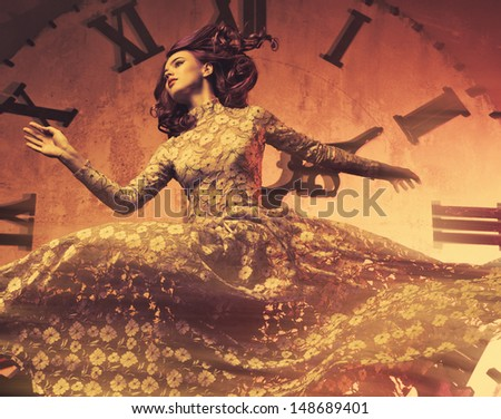 Young woman on clock background. - stock photo