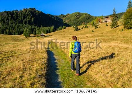 Young woman on hiking trail from Kalatowki to Hala Kondratowa valley, Tatra Mountains, Poland - stock photo