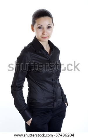 Young woman on isolated white background - stock photo